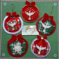 Claus Yo Yo Ornament set - set of 3 Music Ornaments, Nativity Ornaments, Christmas Ornament Crafts, Christmas Crafts, Christmas Nativity, Felt Ornaments, Christmas Carol, Hessian Crafts, Advent