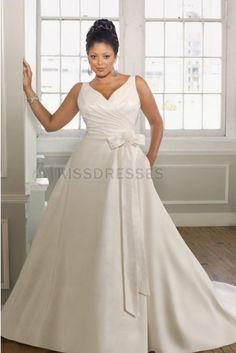 A-line V-neck Chapel Train Satin Sash Plus Wedding Dress - Plus Size Wedding Dresses - Wedding Dresses
