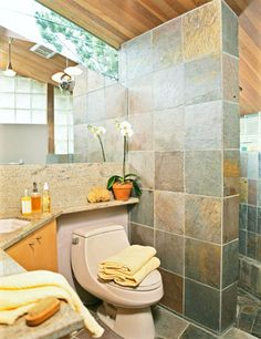 Bathroom remodeling idea darker tile with warm earth tone for Bathroom ideas earth tones
