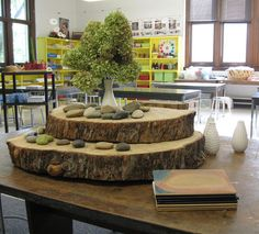 This display of the wood and stones is so inviting and would definitely grad children's attention when they are looking for what they would like to play with. I think it's incredibly important to keep loose materials presented in an inviting, intriguing way in order to attract children to explore the materials, and this is a great example of that.