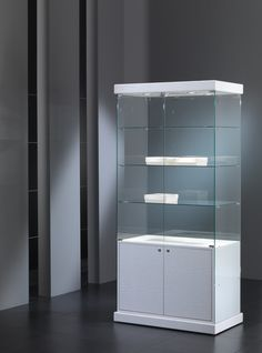 Kensington 9.SM Stylish shelving display unit with lockable base cupboard.
