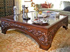 Model: OTBL-10 Measurements: Length: 54.00 Width: 54.00 Height: 20.00 Colonial Furniture, Wood Bedroom Furniture, Deco Furniture, Home Decor Furniture, Table Furniture, Furniture Design, Tea Table Design, Wooden Sofa Designs, Vintage Sofa