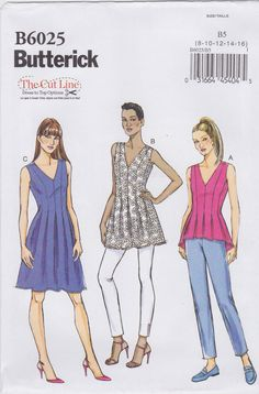 Butterick Sewing Pattern B6025 Misses' Top, Tunic and Dress New UNCUT by SheerWhimsyDesigns on Etsy