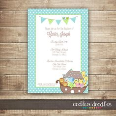 Welcome to Oodles & Doodles (OandD)! This sweet Noahs Ark invitation is the perfect theme for a baby boys baptism. The invitation is accented with adorable Baby Boy Christening, Baby Girl Christening, Baby Dedication, Polka Dot Background, Christening Invitations, Baptism Party, Doodles, Etsy, Baby Boys