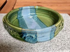 Mosquito Mud Pottery Brie Baker Green Blue Dish