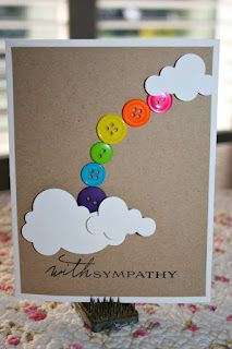 rainbow card. Love the use of buttons. Maybe for something other than sympathy though.
