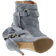 Pre-owned Pigeon blue-gray Peeptoe ankle boots ($335) ❤ liked on Polyvore featuring shoes, boots, ankle booties, grey, suede ankle boots, gray suede booties, peep toe booties, cut out booties and suede ankle booties