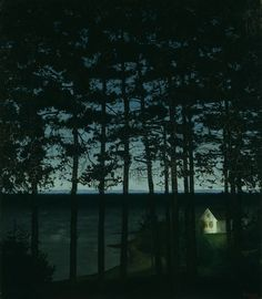 Harald Sohlberg  Norwegian, 1869-1935    Fisherman's Cottage, 1906    Oil on canvas  43 x 37 in. (109 x 94 cm).