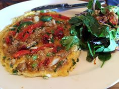 Crab and Nem Nuong Omelette (Crab, Pork & Shrimp Sausage, Shallots, Jalapeno, Garlic, Oven dried Tomatoes, Cilantro) - Monsoon East