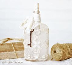 Vintage Bottle with Lace, Key & Buttons