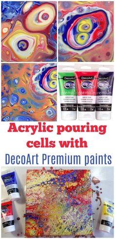 Making cells with acrylic pouring. Video tutorial and review with recipe for using DecoArt Premium acrylics, artist quality paints.