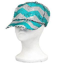 Aqua Sequins Chevron Baseball Hat - Handbags, Bling & More!