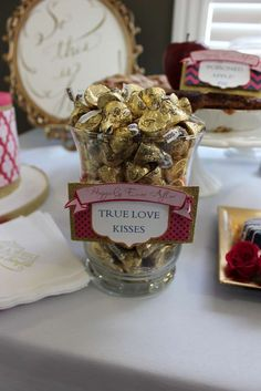 True love kisses at a Disney bridal shower party! See more party planning ideas at CatchMyParty.com!