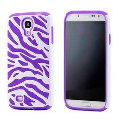 White Purple Dual Layer Zebra Hybrid Soft Silicone Hard PC Case Back Cover for Samsung Galaxy S4 i9500