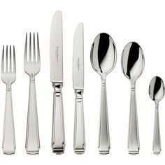 Robbe & Berking Art Deco Cutlery Set - 84 Piece ($8,232) ❤ liked on Polyvore featuring home, kitchen & dining, flatware, metallic, art deco flatware, coffee spoon and art deco silverware