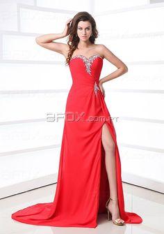 Vestido de cerimonia saia comprida com rasgo gola atraente decorada de pérolas material de chiffon  €77.99