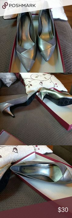 """Gorgeous Heels These are beautiful I bought these for a cruise & forgot to bring them lol. These are NEW IN BOX Pewter with Gray suede & a print on toes & heels. 2 & 1/2"""" heels. Size 7 M . Gorgeous❣️ Natural Naturalizer Shoes Heels"""