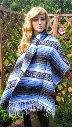 Mexican Serape Blanket Shawl Wrap  Blue Mexican by FashNerds