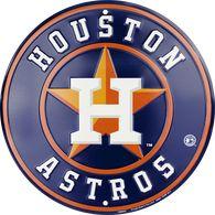 "Houston Astros Embossed Metal Circular Sign 12"""
