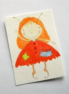 ACEO Watercolour Original Fairy OOAK Painting  by JuliaPeculiar