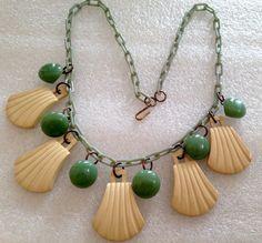 Vintage celluloid & galalith galalite dangles necklace - bakelite era