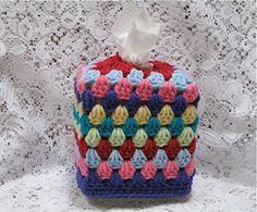 Rainbow Crocheted Tissue Box Cover Cozy by TimeForCrochet on Etsy, $12.00