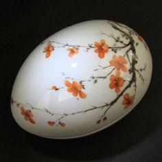 "Limoges France Porcelain Egg Trinket Box Large 5"" Tree Blossoms Coral White"