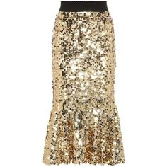 Dolce & Gabbana Sequined Skirt ($1,700) ❤ liked on Polyvore featuring skirts, bottoms, gold, knee-length, gold sequin skirt, brown knee length skirt, knee high skirts, sequin skirt and knee length skirts