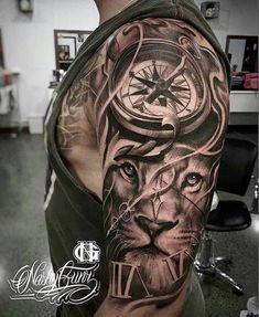 ▷ 1001 + ideas for an upper arm tattoo: the best designs - lion head with com. - ▷ 1001 + ideas for an upper arm tattoo: the best designs – lion head with compass, tattoos men - Lion Tattoo Sleeves, Full Sleeve Tattoos, Tattoo Sleeve Designs, Lion Sleeve, Lion Arm Tattoo, Half Sleeve Tattoos For Guys, Tattoo Moon, Armor Tattoo, Wrist Tattoo
