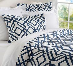Shelby Geo Duvet & Sham #potterybarn this comes in gray, blue or red but would be beautiful in your bedroom