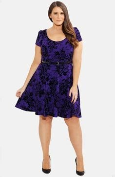 City Chic Floral Print Skater Dress (Plus Size) available at #Nordstrom