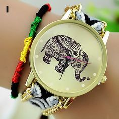 Woven Woolen Ladies Quartz Wrist Watch Elephant Pattern Pull Cords Bracelet