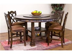 Shop for Sunny Designs Santa Fe 60'' Round Table With Lazy Susan, 1225DC, and other Dining Room Dining Tables at Joe Tahan's Furniture in Rome, Yorkville and New Hartford NY.