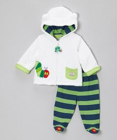 Another great find on #zulily! Blue & Green Caterpillar Plush Jacket & Footie Pants - Infant #zulilyfinds