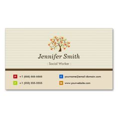143 best social worker business cards images on pinterest business social worker elegant tree symbol business card colourmoves