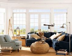 Nautical Living Room Inspiration from Pottery Barn: http://www.completely-coastal.com/2014/06/indoor-outdoor-coastal-living-Pottery-Barn.html