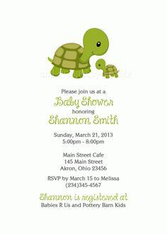 Turtle II Baby Shower Birthday Invitation