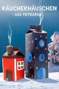 Räucherhäuschen aus Tetrapak basteln DIY Craft Ideas for Kids: Making Smoker Houses with Children – from Old Milk Bags / Milk Cartons Christmas Upcycling and Nice Employment Idea for the Advent Season