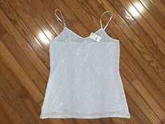 NWT EXPRESS Shimmer Silver Sequin Sleeveless Tank Top Size L New MSRP $39 #Express #TankCami #CasualClubWear