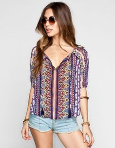 PATRONS OF PEACE Mixed Print Womens Top 238572750 | Blouses & Shirts | Tillys.com