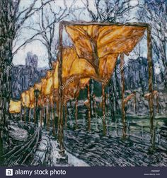 Download this stock image: The Gates in Central Park. NYC. 2005 Polaroid sx70 scan. Christo and Jeanne-Claude art installation. The orange saffron gates. - hw29af from Alamy's library of millions of high resolution stock photos, illustrations and vectors.