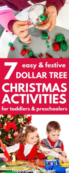 These simple Christmas activities for toddlers are great for preschool or at home. You'll find fun art projects, fine motor activities, easy crafts, DIY ornaments, and more! Can be adapted to be appropriate for a range of ages, from 2 years olds to a preschool classroom. The best part is that all the supplies are from the Dollar Tree!