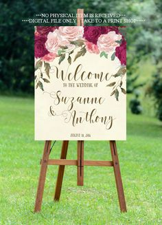 burgundy wedding sign, burgundy rose welcome sign, welcome wedding sign, digital wedding sign, custom welcome sign,8x10, 16x20, 18x24, 24x30 by OurFriendsEclectic on Etsy