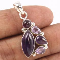 Started in SUNRISE JEWELLERS (Indian Silver Jewellery Us has flourished into one of the top manufacturers & exporters for gemstone studded silver jewelry & Sterling silver jewelry without gemstones. Amethyst Pendant, Amethyst Gemstone, Purple Amethyst, Silver Jewellery Indian, Silver Pendants, Semi Precious Gemstones, Pendant Jewelry, Sterling Silver Jewelry, Jewels