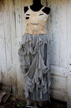Skirt, gray skirt,Corpse Bride, alternative wedding, tatter punk, steampunk, gipsy punk, layers and ruffles, long skirt, diva drama, bridal