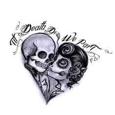 """Til death do we part with skulls tattoo. Ours will just say """"til death"""" Tribal Tattoos, Tattoos Geometric, Tattoos Skull, Dog Tattoos, Cute Tattoos, Body Art Tattoos, Tatoos, Biker Tattoos, Awesome Tattoos"""