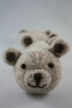 teddy bear ball needle felted Eco friendly toy by HoneyCanada