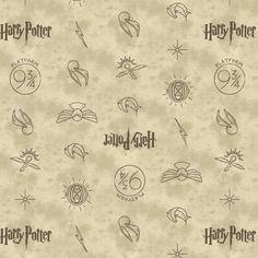 Harry Potter Wizarding World Fabric / HP Camelot Dark Cream Symbols Harry Potter Fabric By The Yard & Harry Potter Fat Quarters Tissu Harry Potter, Harry Potter Fabric, Harry Potter Nursery, Theme Harry Potter, Fabric Panel Quilts, Fabric Panels, Tour Eiffel, Harry Potter Symbols, Hogwarts