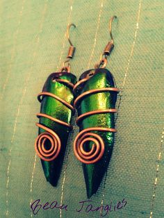 Real Beetle Wing / Shell Iridescent Wire Wrapped Spiral Antique Copper Earrings Handmade in Ireland Wing Earrings, Copper Earrings, Drop Earrings, Wire Wrapped Jewelry, Beaded Jewelry, Jewellery, Viking Knit, Antique Copper, Beetle