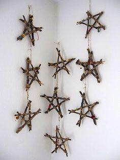 Hængende træ-stjerner